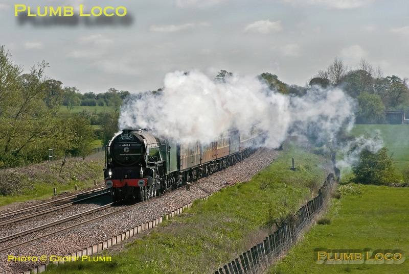"""A1 4-6-2 No. 60163 """"Tornado"""" is working """"The Cathedrals Express"""", 1Z31, 08:06 from Paddington to Shrewsbury and return, here approaching Shrivenham on the outward journey, running on time at 10:04 in a strong northerly breeze. Saturday 12th May 2012. Digital Image No. GMPI11670."""