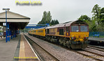 Network Rail test train 1Q13 finally managed to run on a very dull Monday 21st May 2012, departing from Didcot and travelling via much of the Chiltern lines south of Banbury, to end up back at Didcot again. Here the train is passing through Princes Risborough on the through line at 08:52, a few minutes early, with 66019 leading and 66017 on the rear, both locos fitted with tripcocks for working over LUL lines. After reversal at Marylebone, the train then ran via Amersham to Aylesbury. Digital Image No. GMPI11809.