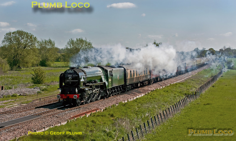 """A1 4-6-2 No. 60163 """"Tornado"""" is working """"The Cathedrals Express"""", 1Z31, 08:06 from Paddington to Shrewsbury and return, here approaching Shrivenham on the outward journey, running on time at 10:04 in a strong northerly breeze. Saturday 12th May 2012. Digital Image No. GMPI11677."""