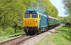 "50035 ""Ark Royal"" storms past Quarr farm crossing 07/05/2015."