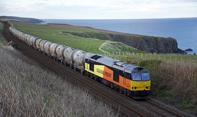 60085 with the Craiginches to Oxwellmains empty cement tanks on Tuesday 3rd May 2016