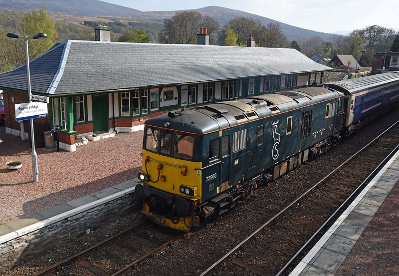 73966 with Caledonian Sleeper at Spean Bridge on Monday 1st May