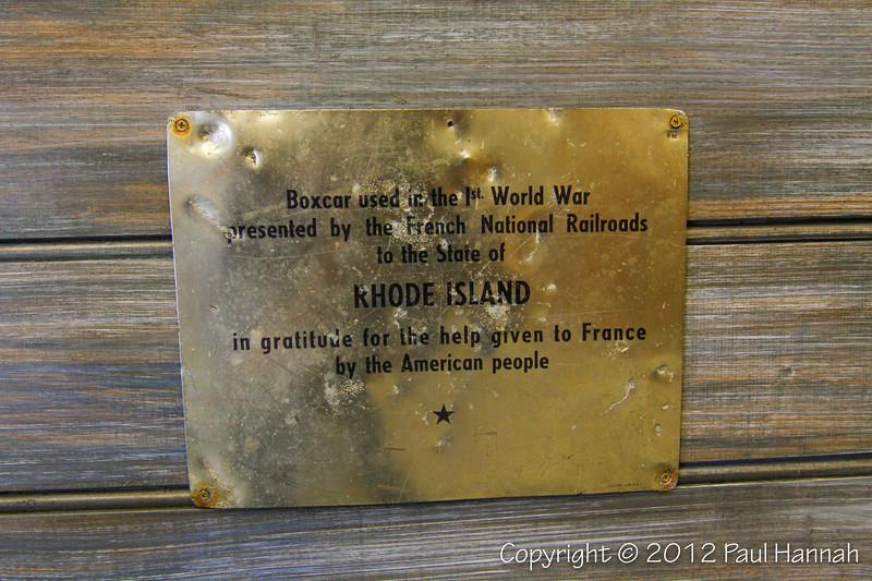 Rhode Island Merci Train Boxcar Plaque