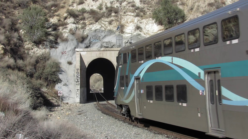 Metrolink Antelope Valley Line train 205 running outbound from Los Angeles Union Station to Lancaster on Groundhog Day (February 2), 2012. The tunnel is beside the Santa Clara River near Acton, in the mountains between Santa Clarita and SoCal's high desert.