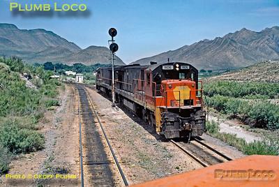 PoV NdeM No. 8567 passing NdeM No. 11106, Monterrey to Saltillo, 9th June 1986