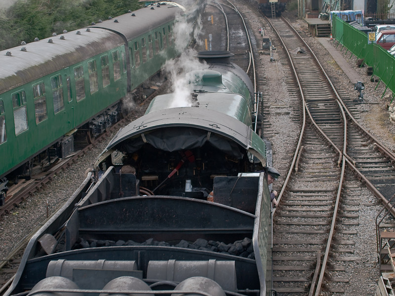 850 Lord Nelson. Copyright Peter Drury 2010<br /> The train comes to a halt and waits until the engine is uncoupled
