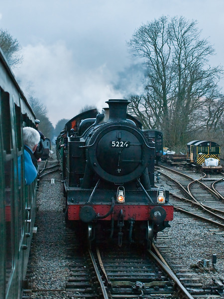 Class 5205 2-8-0T. Copyright Peter Drury 2010<br /> Arriving at Medstead & Four marks from Ropley and routed into the Up Loop line in the station. 850, Lord Nelson, is held in the station until the single line token is surrendered by the crew of this train.