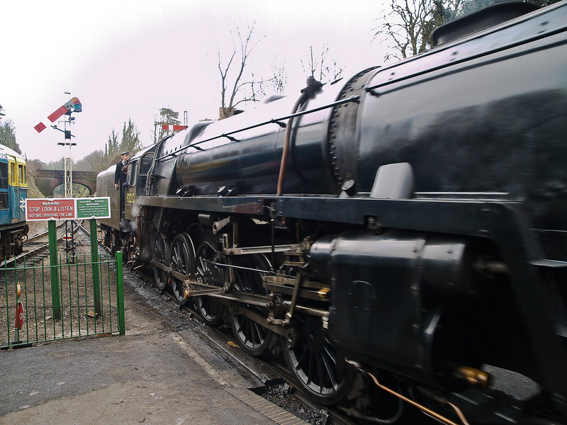 92212 BR Standard 9F. Copyright Peter Drury 2010<br /> The connecting rods and valve gear on 92212 can be seen in this image as it starts from Alresford with the Up freight.