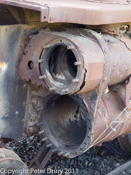 30 January 2011. Alresford - 80150 BR Class 4MT A/W overhaul.  Copyright Peter Drury 2011<br /> Remains of cylinders and housing