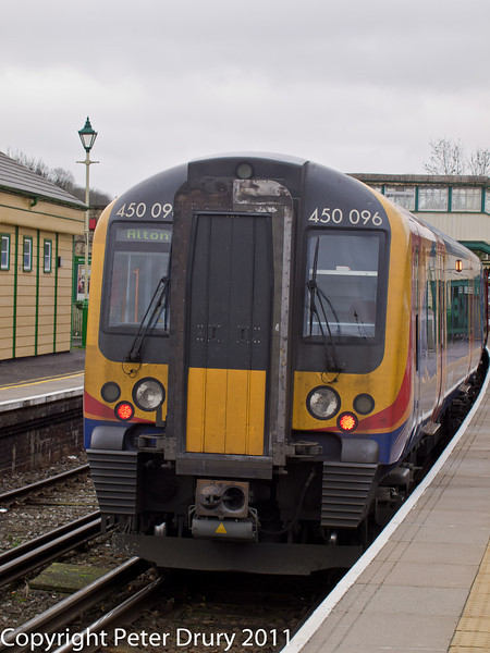 26 January 2011. Alton:- Class 450 EMU.  Copyright Peter Drury 2011<br /> This train is waiting in platform 1 as the next service to London (Waterloo).