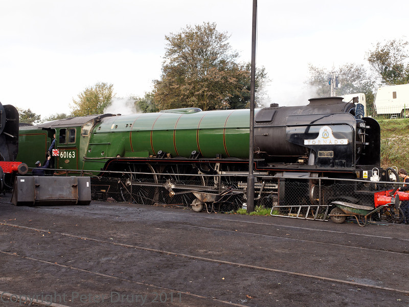 22 Oct 2011 New build Peppercorn Class A1 No 60163 'Tornado' in the shed yard. An A1 Steam Locomotive Trust owned locomotive on loan at Ropley.<br /> Being prepared for service on the wheeldrop road,