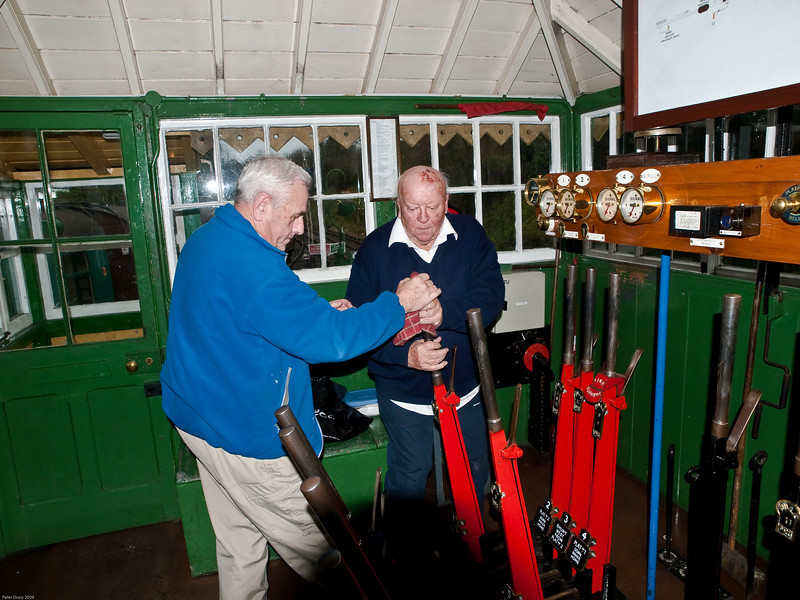 Alresford Signal Box. Copyright 2009 Peter Drury<br /> The outer home is quite a distance from the box and therefore it takes some effort to move the lever.