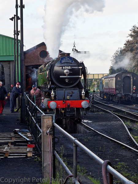 22 Oct 2011 New build Peppercorn Class A1 No 60163 'Tornado' in the shed yard. An A1 Steam Locomotive Trust owned locomotive on loan at Ropley.<br /> The boiler reaches working pressure (250 psi) and the safety valves lift.