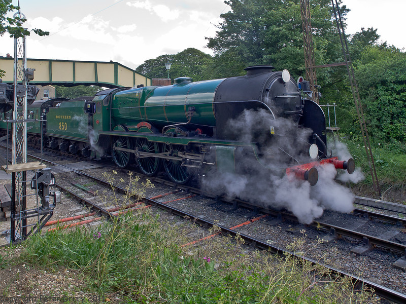 11 Jun 2011. War on the Line. 850 Lord Nelson on a train for Alresford at Ropley. Copyright Peter Drury 2011