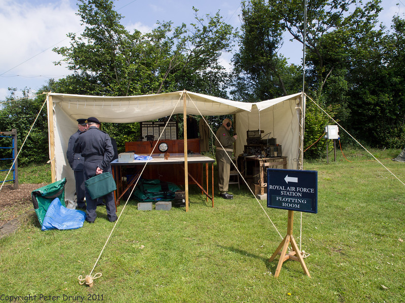 11 Jun 2011. War on the Line, RAF Plotting Station simulation in the picnic area above the station. Copyright Peter Drury 2011