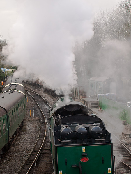850 Lord Nelson. Copyright Peter Drury 2010<br /> Having uncoupled from the train, the engine sets off to run around the carriages.