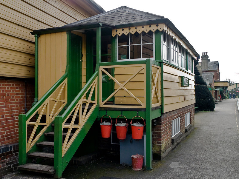 Ropley - Mid Hants Railway. Copyright 2009 Peter Drury<br /> The platform mounted signal box at the Medstead & Four Marks end of the platform. The building behind is the new wheel drop facility. Immediately behind that is the 2 road shed.