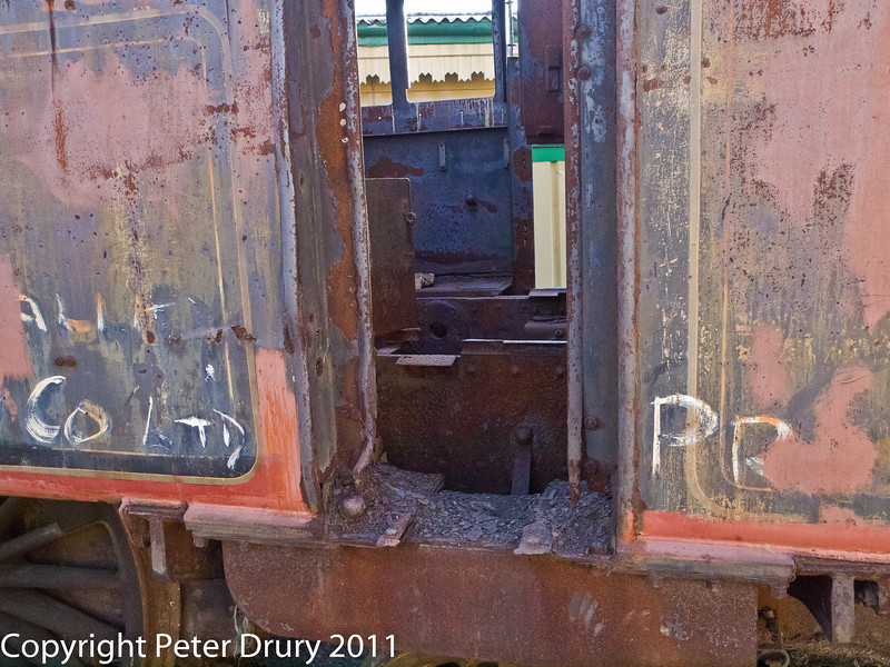 30 January 2011. Alresford - 80150 BR Class 4MT A/W overhaul.  Copyright Peter Drury 2011<br /> A look into the cab - no floor, just the frames visible.