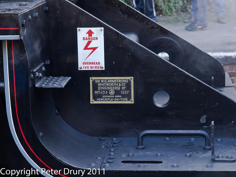 30 January 2011. Alresford - Black 5, 45379 Builders plate.  Copyright Peter Drury 2011
