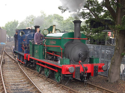 Sir Berkeley and Matthew Murray at Moor Road, waiting to take out the next Balm Road train.