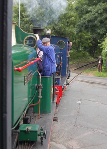 Matthew Murray and Sir Berkeley crossing Moor Road as seen from the brake van of the branch line train.