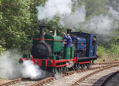 Sir Berkeley and Matthew Murray running round at the Balm Road terminus of the branch line, 23rd June 2012.