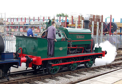 Two Manning Wardle locos were in use, working as a pair. This is Sir Berkeley, works number 1210 of 1891, at Moor Road Station.