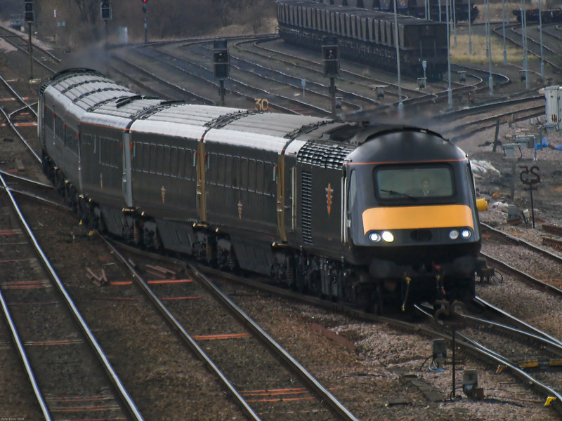 Grand central HST set (43084 leading) on diversion through Milford junction.<br /> The train is seen here using the ladder junction to switch to the Sheffield line from the York line. The pair of tracks it is leaving are freight only from this point.
