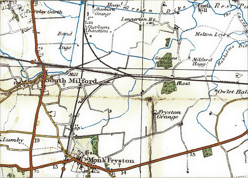 "Milford Junction Map (1930's Out of copyright OS Survey Map extract) The line running vertically leads to York. The line running diagonally is the Leeds to Selby Line. Suprisingly, the main running lines shown here remain in place. Quadruple track from the south and the remainder all double track. The station near Monk Fryston has closed and what was once the Junction station (between the divergence of the York and Selby lines) is not even shown. In the 1950's, when I lived there, a footbridge still existed across the tracks which originally served the Junction station - alas, this has been removed. All I have is the happy memories of rushing along the bridge to catch the smell of the smoke of a passing steam train. This love was not however shared by my mother. I found this <a href=""http://www.ponies.me.uk/maps/osmap.html"">website</a> very useful in providing old OS maps."