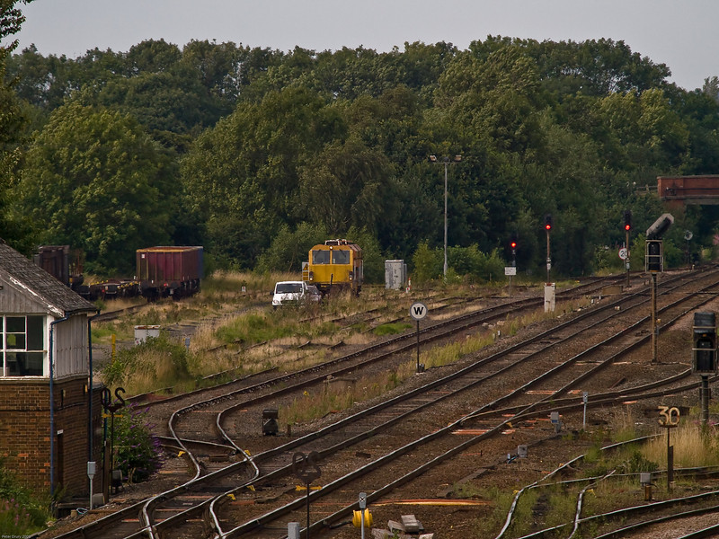Wagon Repair Sidings adjacent to York Main Lines.<br /> A zoomed in view of the lay-by loop and wagon repair facility. Wagons awaiting repair can be seen to the left of the locomotive in the sidings.