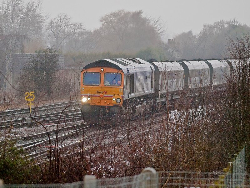 GBRF Class 66 routed on the Sheffield line. Copyright Peter Drury 2010<br /> The loaded coal train is seen coming off the York line.
