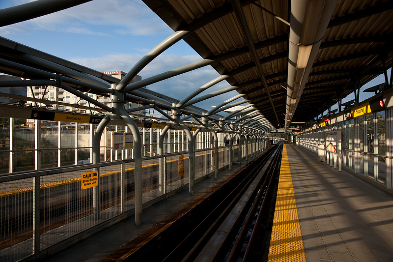 Another view of Sapperton Station.  Notice the complex metalwork between the platforms, which helps support the gull-wing roof.