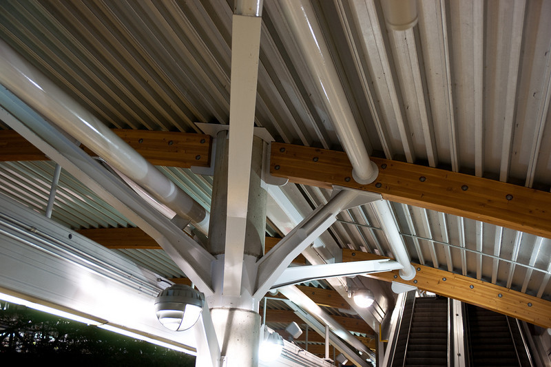 Detail of the roofwork at Commercial - Broadway Station.