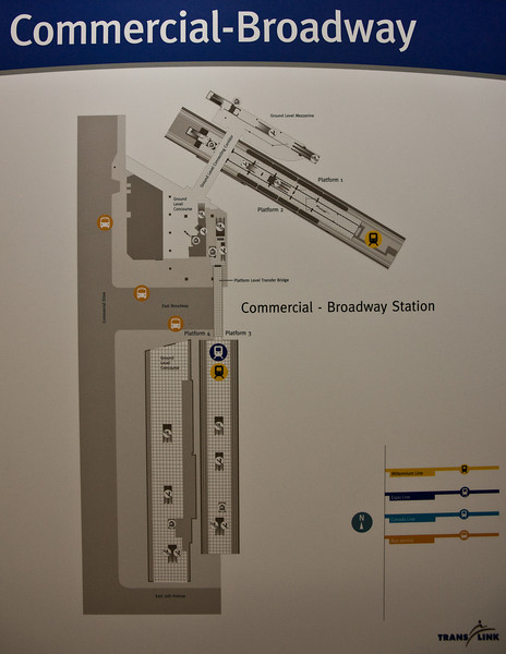 The not-especially-useful new map at the recently renamed Commercial-Broadway Station.  The map tells you everything except, say, where to find a train that takes you where you want to go.  Good luck with that.