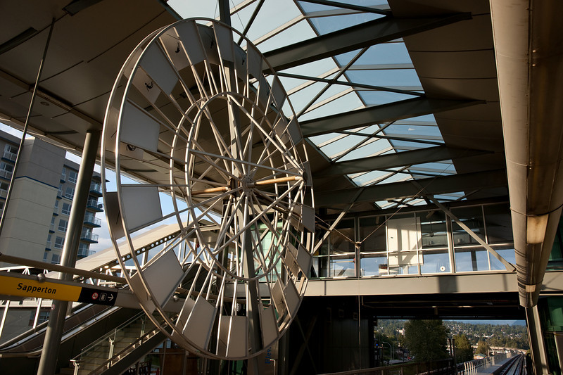The public art at Sapperton Station.  This piece used to be interactive, powered by a stationary bike on the concourse -- long since removed.