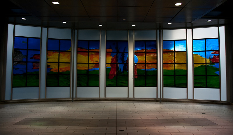 The stained glass public art at Sperling - Burnaby Lake Station is one of my favourites.  Thankfully it has escaped vandalism over the years.