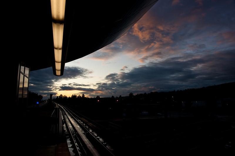 Production Way - University Station at dusk.