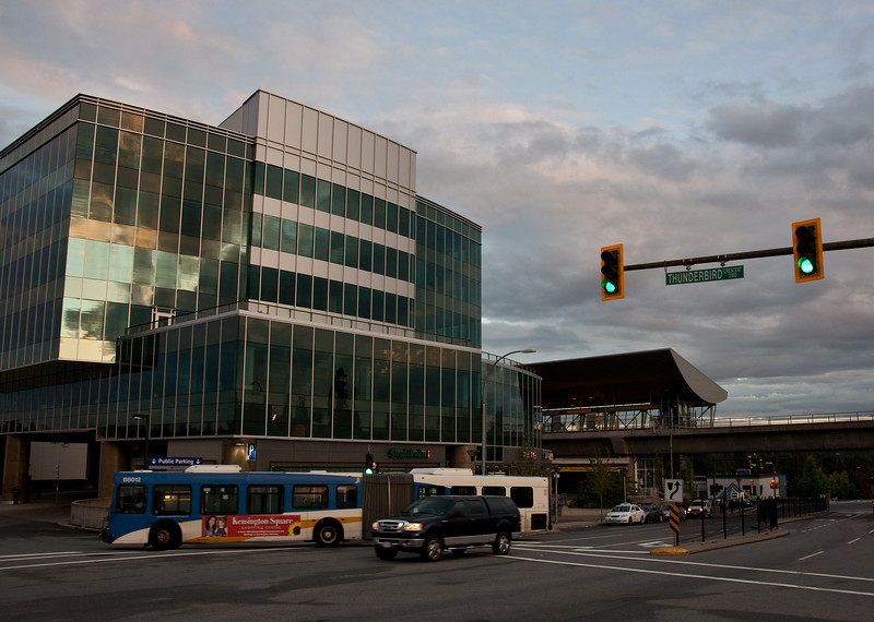 A view of Production Way - University Station and its new office building.  Only the foundation of the building was built for the Millennium Line's opening in 2002.