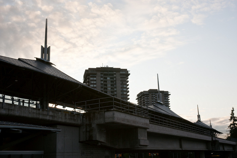 The graceful roof of Lougheed Town Centre Station is undermined by the station's bulky concrete undercarriage.