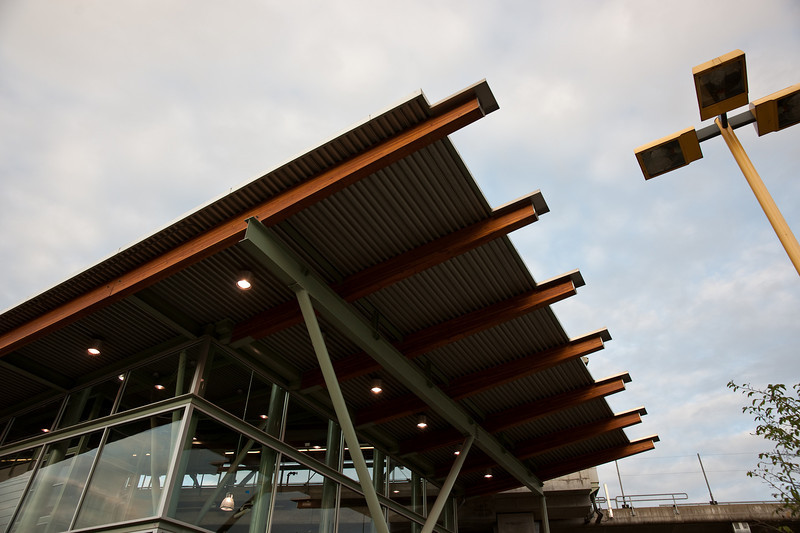 The front entrance canopy at Braid Station.