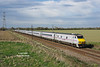 DVT 82201 leads the 1E19 14:30 Edinburgh - Kings Cross on the approach to Joan Croft Jnc at 17:13 on Tuesday 14th April 2015