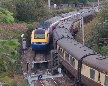Another view of the EMT HST as it nears Carlisle Station, with the stock from the steam-hauled charter alongside.
