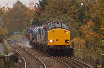 37608 and 37605 with 3S77 rail head treatment train on Wetheral VIaduct on 22nd October 2012.