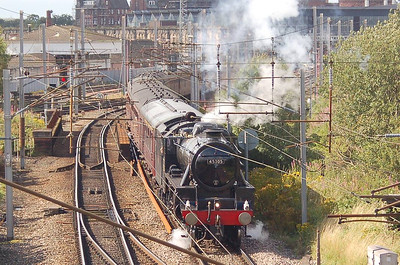 """Black 5 45305 was the motive power for the Crewe to Carlisle """"Mersey Moorlander"""" railtour on 20th August. 45305 is seen just after departure from Carlisle on the return leg."""