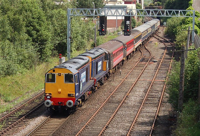 20308 and 20309 approaching Carlisle on Saturday 7th July 2012 with a Stratford-upon-Avon to Carlisle charter.