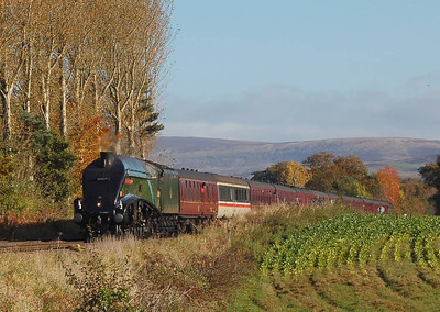 """60009 was working """"The Hadrian"""" railtour on 27th October. The train is seen here approaching Corby Gates on the Tyne Valley line."""