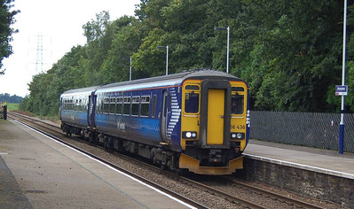 Scotrail 156436 passing Brampton with a Glasgow to Newcastle train on the afternoon of 18th August 2012
