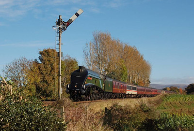 Another view of 60009 near Corby Gates. This is quite a good location with the early warning semaphore signal!