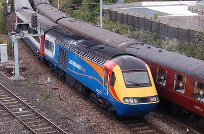 The rear power car of the HST set was 43073, seen here on the Up & Down Newcastle line just outside Carlisle Station.