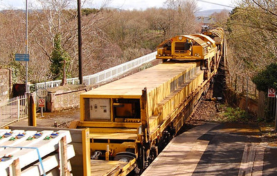 A view of the High Output Track Relaying Train on Wetheral VIaduct on 27th April.